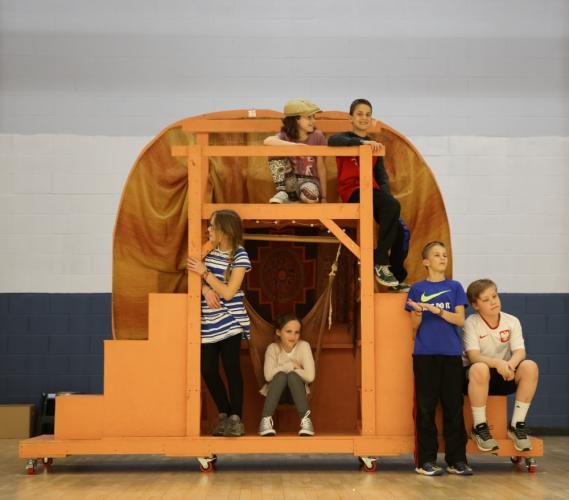 Reed Intermediate School students rehearsing for James and The Giant Peach