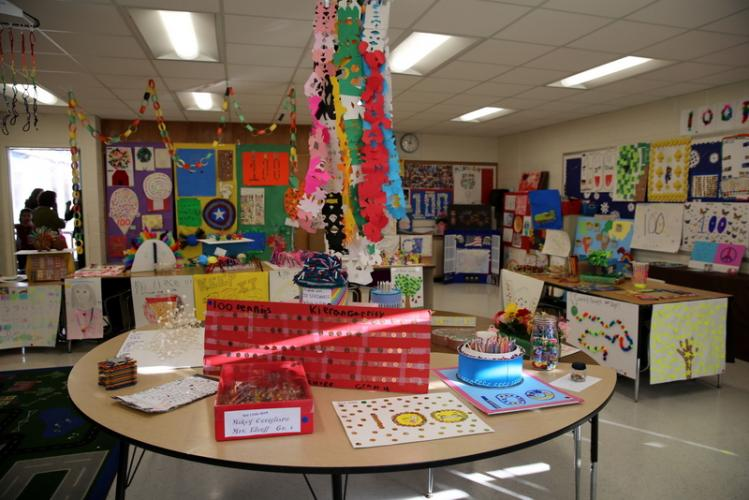 100th day of school projects on display in a multipurpose room at Middle Gate on February 5.  (Bee Photo, Hallabeck)