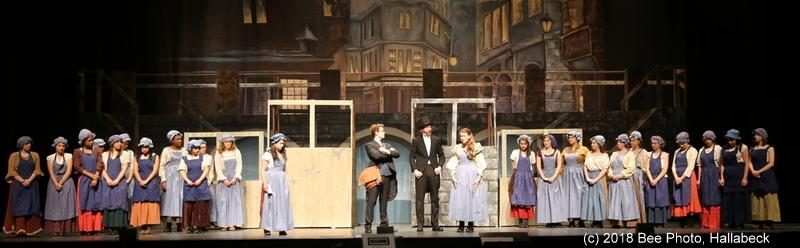 Students in the NHS production of <i>Les Miserables, School Edition,</i> rehearse a scene on March 19. Standing in the center from left are Jacob Schultz, Aidan Moulder, and McKenzie Iazzetta. (Bee Photo, Hallabeck)