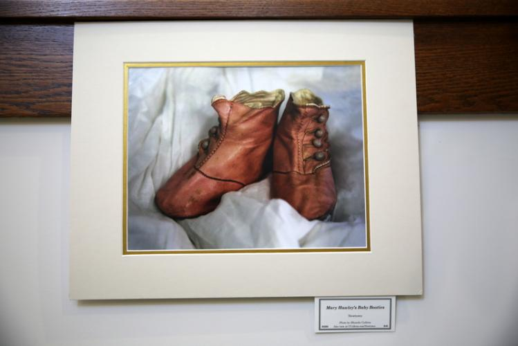 This photograph by Rhonda Cullens shows Newtown benefactress Mary Hawley's baby booties. (Bee Photo, Hallabeck)