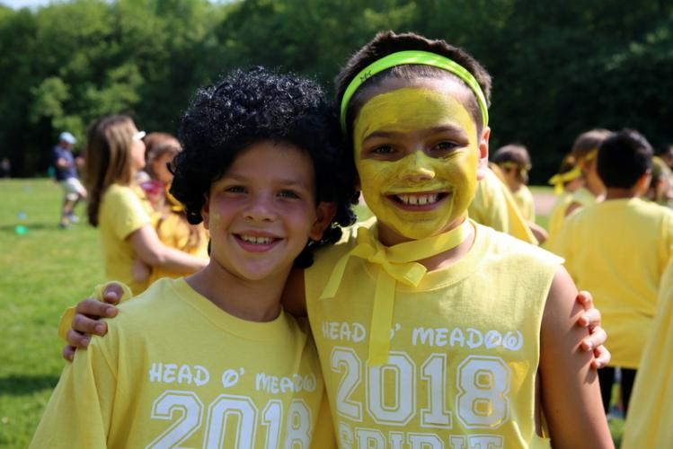 Head O' Meadow Elementary School third graders Aron Roman, left, and Caden Cuomo displayed their yellow team spirt with smiles at the school's Spirit Day on May 24. (Bee Photo, Hallabeck)