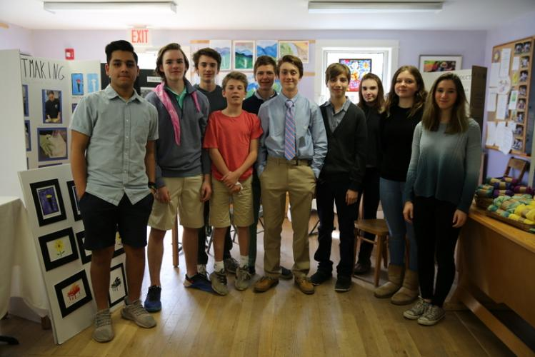 Housatonic Valley Waldorf School eighth graders, from left, Arsh Patalia, Matthew Nesto, Nate Lifgren, Riley Whelehan, Tom Bukovsky, Patrick Alvord, Cade Schoenemann, Vaughn Keeney, Diana Wipf, and Jordan Wittmer pose for a photo in their classroom,…