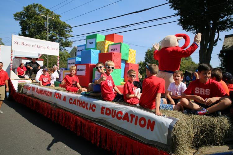 St Rose of Lima School received runner up for Best Float at Newtown's 56th annual Labor Day Parade on Monday, September 4. (Bee Photo, Hallabeck)
