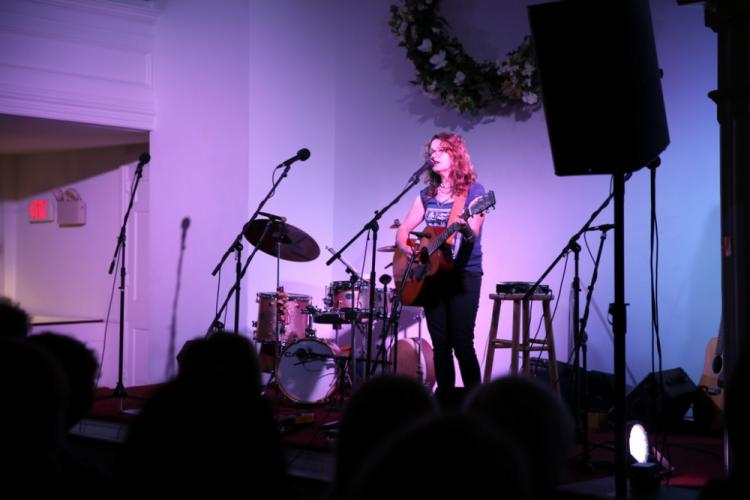 Lucy Kaplansky was the headliner for a November 4 musical event at Newtown Meeting House.  (Bee Photo, Hallabeck)