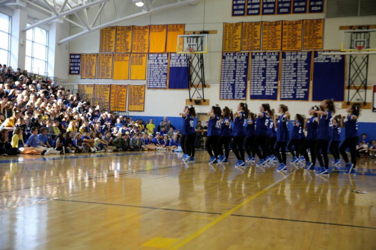NHS Varsity Dance Team members perform at the pep rally. (Bee Photo, Hallabeck)