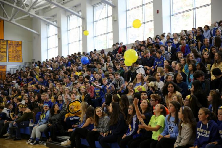 Students in the bleachers at the November 3 NHS pep rally bounced balloons from one side of the bleachers to the other. (Bee Photo, Hallabeck)
