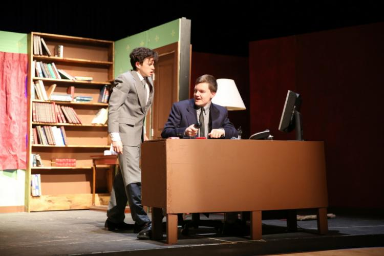 Nicolas Stowell, left, and Teddy Wojick rehearse a scene from the NHS fall drama. (Bee Photo, Hallabeck)