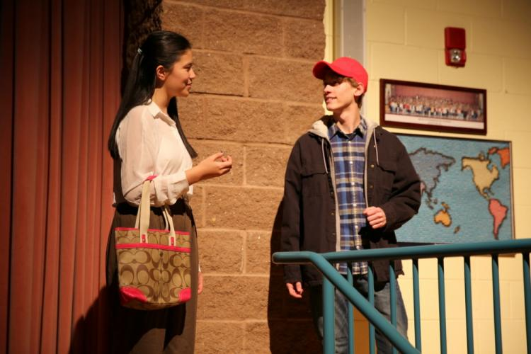 Sarah Grant and Jack Armstrong rehearse a scene on November 13. (Bee Photo, Hallabeck)