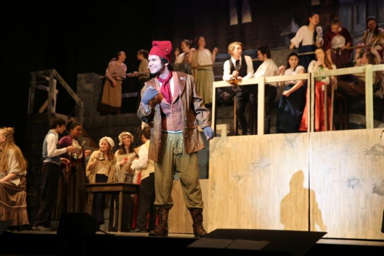 Barrett DeYoung sings as Thenardier in a dress rehearsal on March 19. (Bee Photo, Hallabeck)