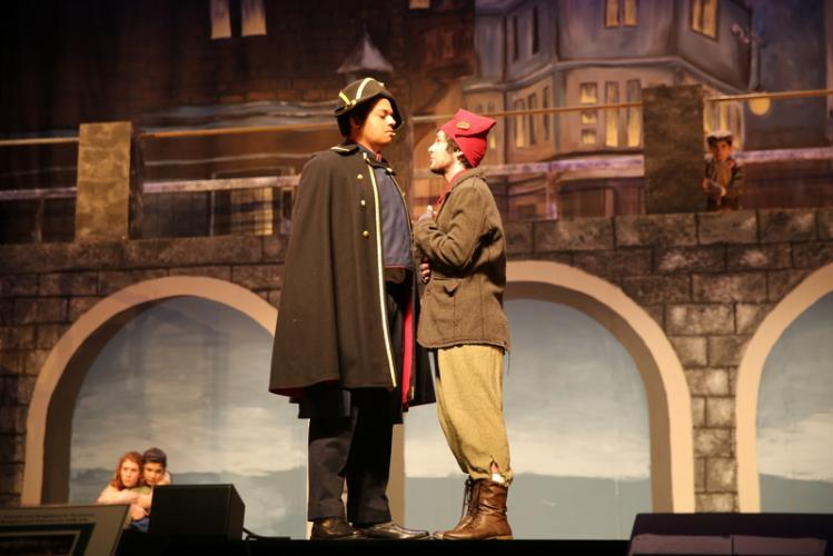 Brooks Petershack, left, and Barrett DeYoung in a scene during a dress rehearsal. (Bee Photo, Hallabeck)