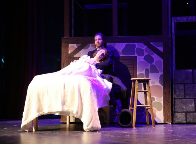 McKenzie Iazzetta and Aidan Moulder share a scene during the March 19 dress rehearsal.  (Bee Photo, Hallabeck)