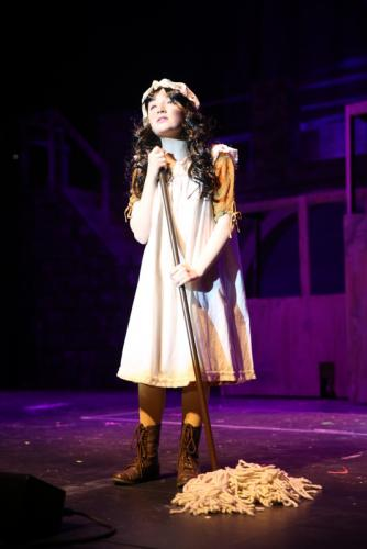 Olivia Doscher sings as Young Cosette.  (Bee Photo, Hallabeck)