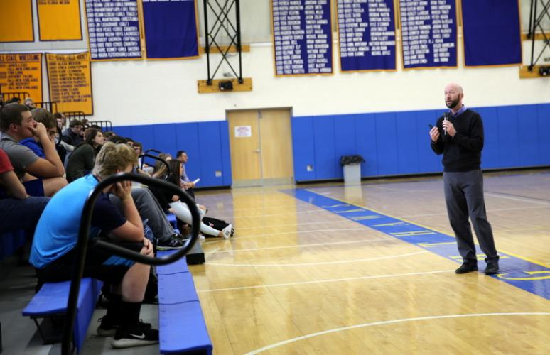 "Tom Pincince, right, spoke to NHS student athletes while sharing his ""The Power of Social Media"" presentation on Tuesday, December 13. (Bee Photo, Hallabeck)"