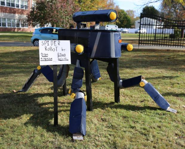 The Spider Robot or scarecrow 10 - created by Dillon Mingachos and Ethan Salvitti - tied for third place. (Bee Photo, Hallabeck)
