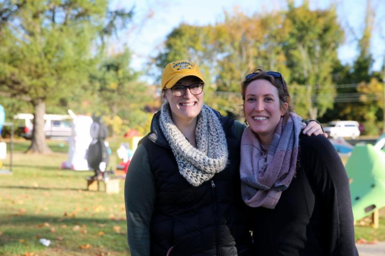 NMS art teachers Leigh Anne Coles and Kristen Ladue stand together the morning of October 21. (Bee Photo, Hallabeck)