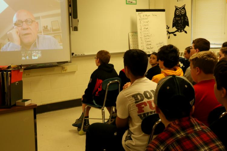 <I>Paperboy</I> author Vince Vawter is seen on the screen during one of two Skype sessions with Newtown Middle School students on March 10.  (Bee Photo, Hallabeck)