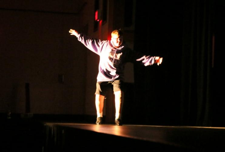 NMS eighth grader Mark DeLoughy tap danced across the stage at the talent show on November 22. (Bee Photo, Hallabeck)