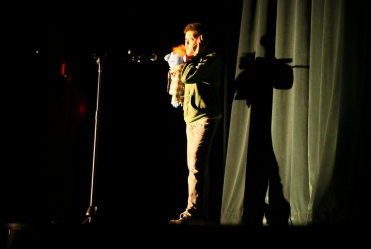 NMS eighth grader Tain Gregory performed a ventriloquist act that had students laughing along. (Bee Photo, Hallabeck)