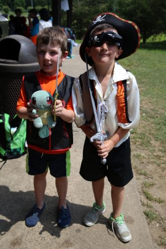 Treadwell Memorial Park day campers Brysce Pacuk, 6, left, and Ryan Larkin, 7, came prepared for Pirate Day on July 12.  (Bee Photo, Hallabeck)