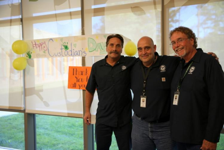 Three of four Sandy Hook School custodians, from left, Rick Thorne, Kevin Anzellotti, and Andy Spencer were celebrated at the school on October 2 for National Custodial Worker's Recognition Day.  (Bee Photo, Hallabeck)