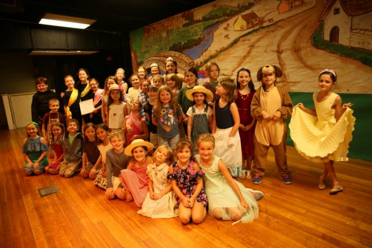 SMART Theater and Performance class campers pose together before performing a play for the camp's showcase on July 27.  (Bee Photo, Hallabeck)