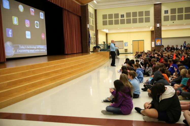 Scott Driscoll of Internet Safety Concepts shares a presentation at Reed Intermediate School on Tuesday, October 13. (Bee Photo, Hallabeck)