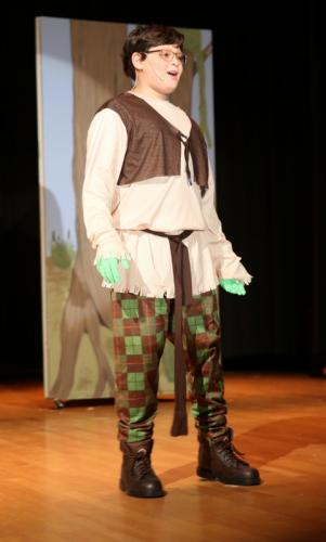 Joseph Soriano rehearses in his role as Shrek on April 23 for Reed Intermediate School's upcoming musical production of Shrek, Jr. (Bee Photo, Hallabeck)