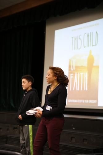 Mother and son Sophfronia Scott and Tain Gregory speak at Newtown Middle School on December 20 about their recently published memoir, This Child of Faith: Raising A Spiritual Child in A Secular World. The local residents also sat down with The…