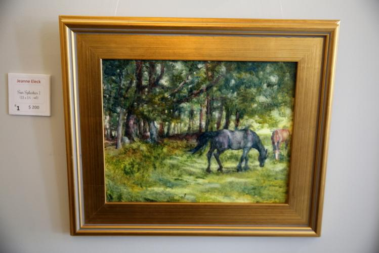 """Jeanne Eleck's """"Spring Spalshes I"""" on display on April 8 for the opening reception for """"Spring is in the AIR."""" (Bee Photo, Hallabeck)"""