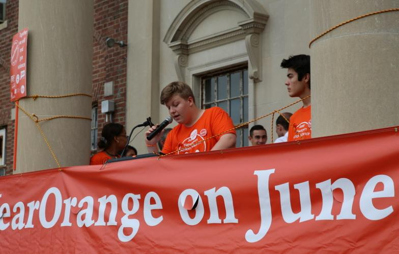 Jr NAA Co-Chair Jackson Mittleman speaks at the rally on June 2. (Bee Photo, Hallabeck)