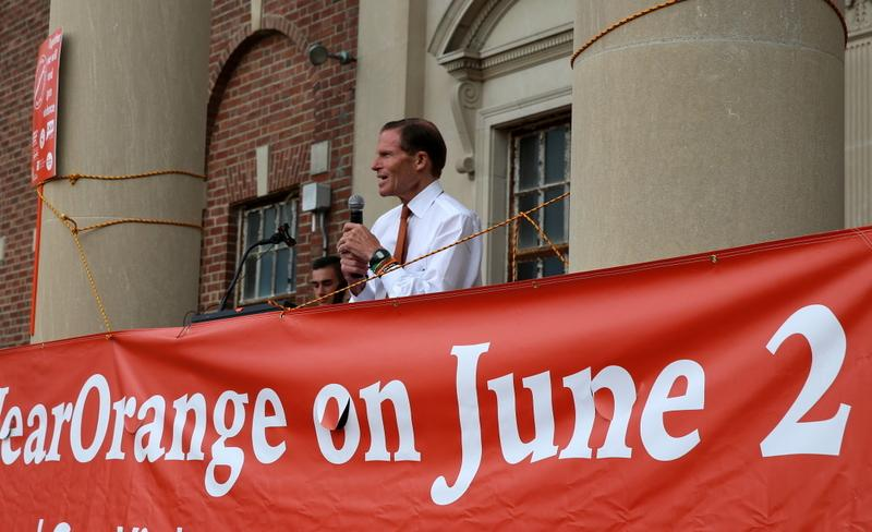 US Senator Richard Blumenthal speaks at the 3rd Annual Newtown #WearOrange March & Rally for National Gun Violence Prevention Day on June 2. (Bee Photo, Hallabeck)