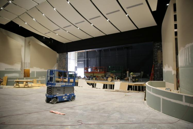 A view of the auditorium looking toward the stage on July 21 as work on the renovation project was underway.  (Bee file photo)