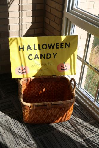 This candy donation basket is set up at Trinity Episcopal, if you would like to help Main Street homeowners with Halloween candy. Big Y on Queen Street also has a donation box.