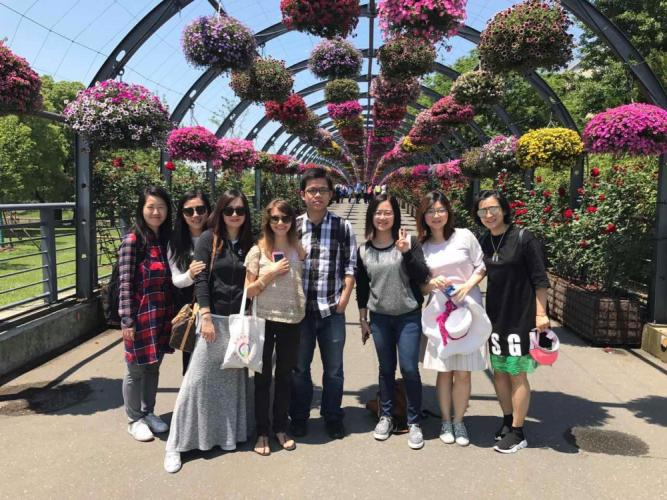 Pictured fourth from left is Emma Iannini with fellow teachers from Shanghai Jincai International Middle School in China during a Children's Day field trip to one of Shanghai's botanical gardens. (photo courtesy Emma Iannini)
