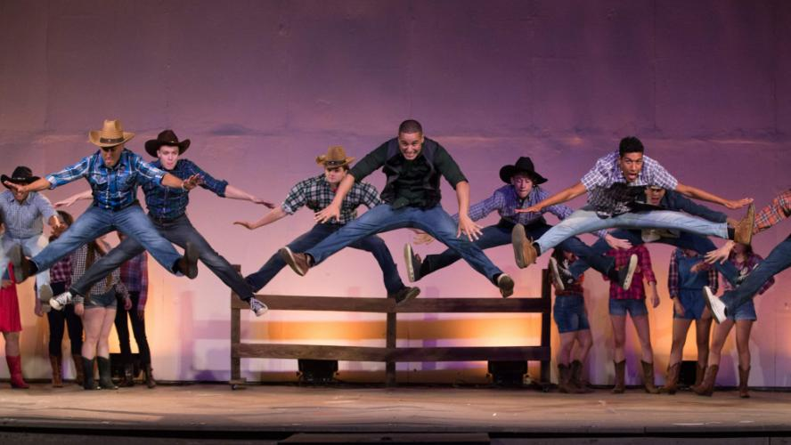 """The boys respond during """"Let's Hear It For The Boy."""" The production of <I>Footloose</I> at Musicals at Richter features a number of regional actors, including John and Jack Armstrong, Brenna Calderara, Jack Moreno and Jacob Schultz, all from Newtown…"""