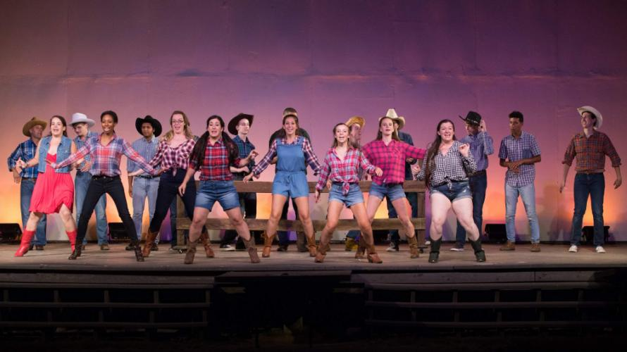 """Ariel and friends take the lead during """"Let's Hear It For The Boy,"""" a big dance number in the second act of <I>Footloose<I/>, which continues for one more weekend at Musicals at Richter.  (Musicals At Richter photo)"""