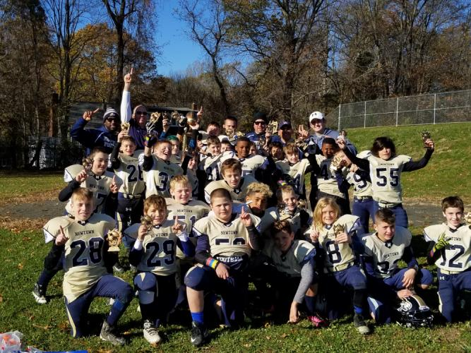 The fifth-graders celebrate their championship. (Lisa Smith photo)