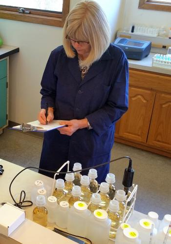 Aqua Environmental Lab staffer Karin Helsel has been overseeing home, business, and municipal water testing at the Newtown-based office for more than 22 years.