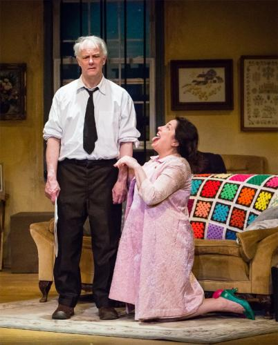 John Fabiani is the beleaguered Artie Shaughnessy, to Keli Solomon's Bananas (Artie's wife) in Sherman Players's production of <i>The House of Blue Leaves</i>. John Guare's very dark comedy is the season opener at The Sherman Playhouse.  (Josh…