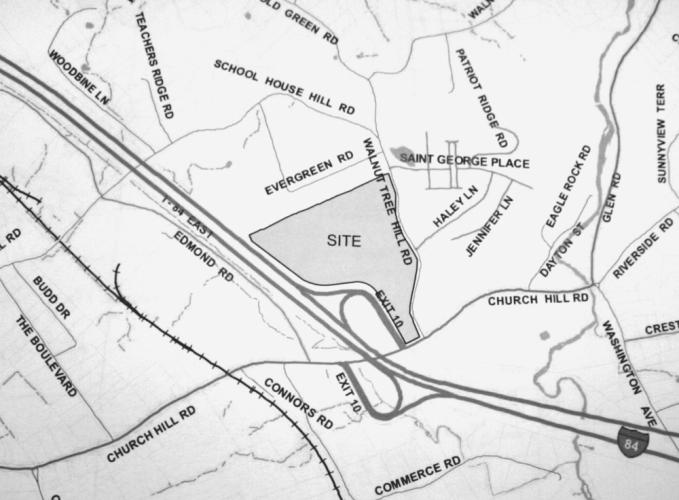 """The 35-acre site at 79 Church Hill Road proposed for a mixed-use development known as Hunters Ridge is shown at the center of this locational map and labeled as """"site."""" Its developer proposes 224 rental apartments, medical/dental offices, a shopping…"""