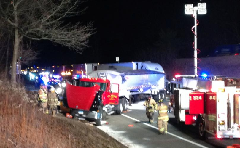 A tractor-trailer truck drove into the rear end of a disabled sedan on westbound Interstate 84, east of Exit 9, on the night of Tuesday, February 13, resulting in the highway closing to traffic for more than 90 minutes. Firefighters controlled a…