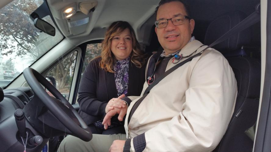 Be Driven Transportation's owners, husband and wife Darnell and Dina Latimer are pictured in their DMV and DOT Certified wheelchair and livery van. The Newtown couple launched what they hope will be a multi vehicle - multi service fleet in the…