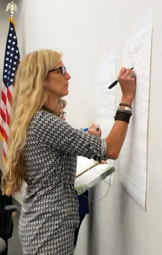 Parks & Rec Director Amy Mangold, in foreground, and resident Barbara Bloom write suggestions for mission statement language on posters during an April 11 Healthy Community Task Force meeting at the Municipal Center.  (Bee Photo, Voket)