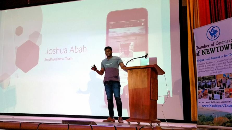 Facebook's Josh Abah reviewed the social network's most up-to-date tools, insights, and best practices for growing a business presence during a well attended opening session of the Newtown chamber's Small Business Week series. 	  (Bee Photo, Voket)