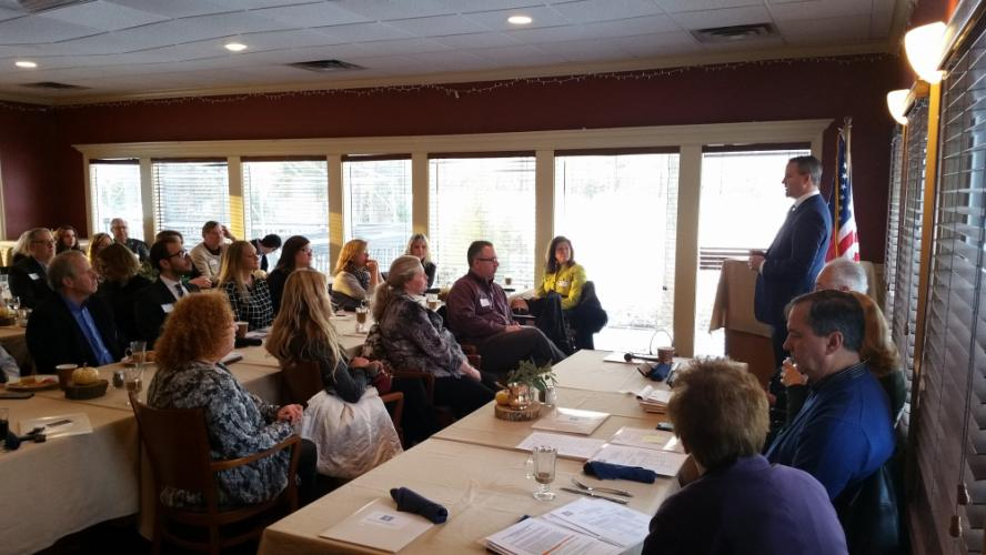 Newtown First Selectman Dan Rosenthal, standing far right, was the keynote breakfast speaker at the Newtown Chamber of Commerce Annual Meeting January 9 at the Newtown Country Club. The recently elected town leader detailed a number of issues he is…
