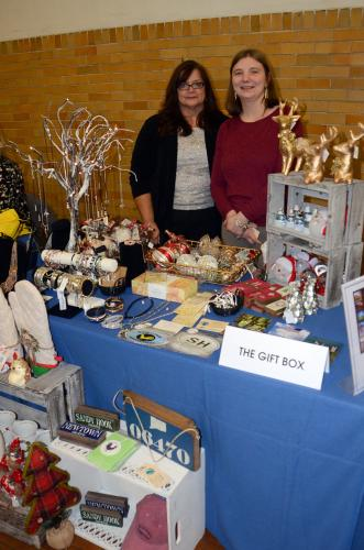 Susan Bean, left, and owner Martine Shanchuk of The Gift Box were among dozens of exhibitors at the 14th Annual Destination Newtown November 16.  (Bee Photo, Voket)