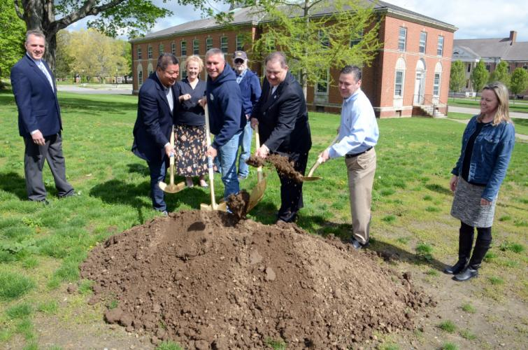 Newtown's legislative delegation was well represented celebrating the groundbreaking of a partially state funded streetscape improvement project at Fairfield Hills, May 8. Front from left, Senator Tony Hwang, Rob Manna of LRM, Inc, Rep Mitch…