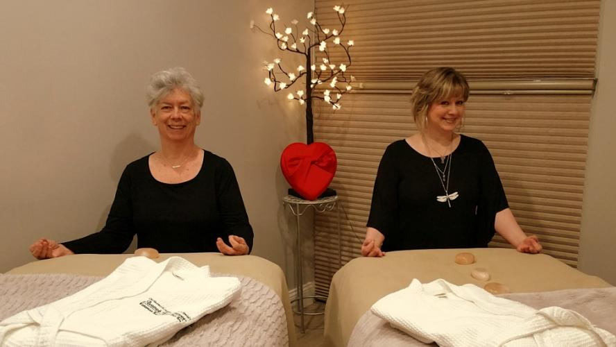 "At Avance Day Spa on Church Hill Road, massage therapists Cynthia Campel, left, and Dawn Turcott bring more than a half-century of combined ""hands-on"" experience to the table so couples (or individuals) can enjoy a peaceful and relaxing experience…"
