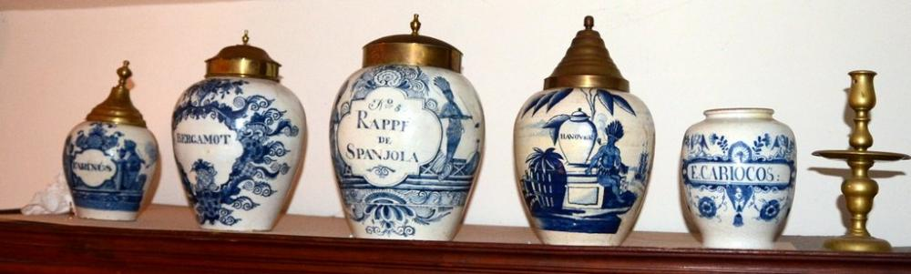 Dutch tobacco jars from the mid-18th Century are among the items found within the Benjamin Curtiss House.