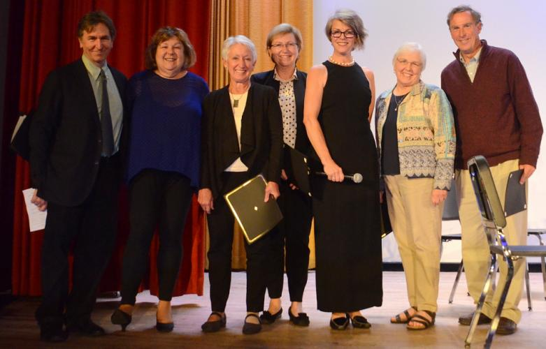 Representatives of five regional music series received pledges of financial support and proclamations from Newtown Friends of Music board member and MC Kaia Fahrenholz, third from right, during the local organization's Farewell Concert at Edmond…